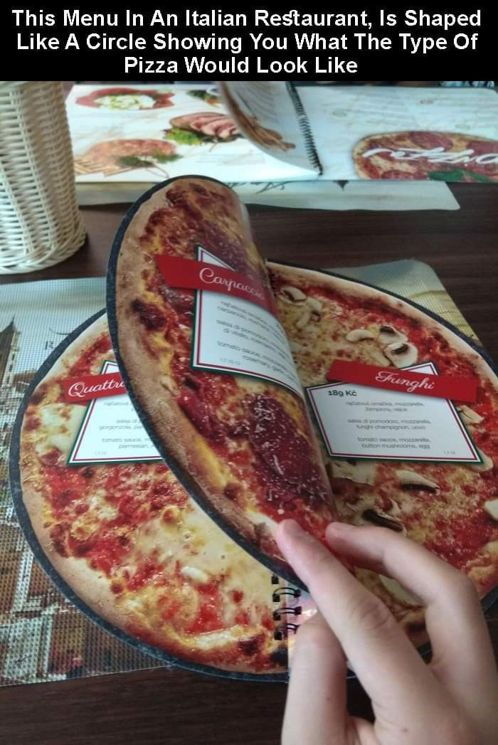 Dish - This Menu In An Italian Restaurant, Is Shaped Like A Circle Showing You What The Type Of Pizza Would Look Like Carpaci Funghi Quattre 189 Kč TNEAPONAA.COpasmoEntie Segh champignon.uov gorgon vigAITONwones cmc taton muhrooms ga oman