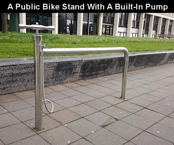 Handrail - A Public Bike Stand With A Built-In Pump