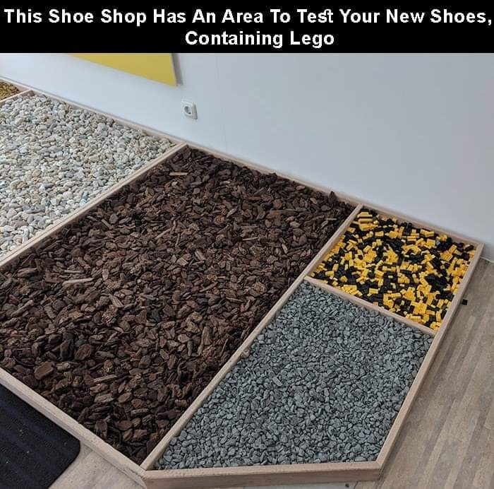 Floor - This Shoe Shop Has An Area To Test Your New Shoes, Containing Lego