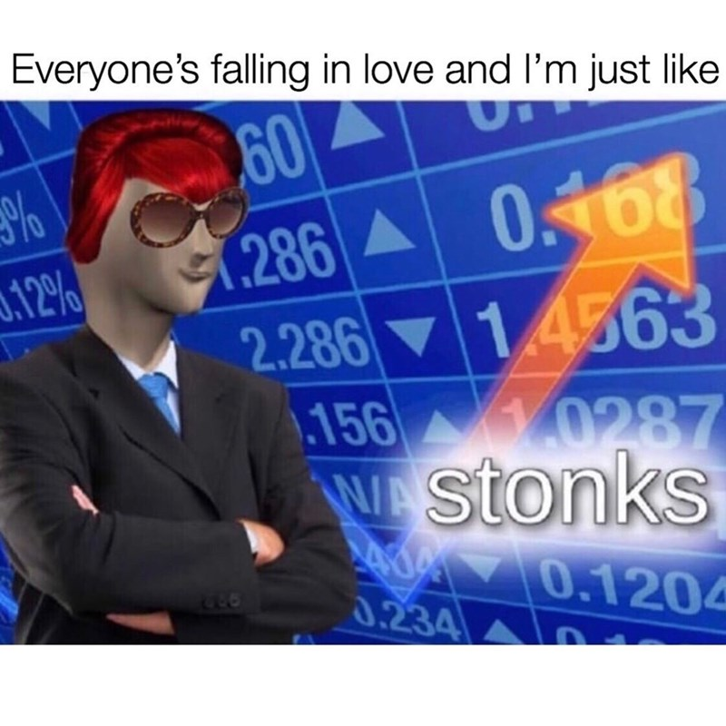 Text - Everyone's falling in love and l'm just like 60 1286 A 0.168 2.286 14563 156 10287 N stonks 0.12%) 0.1204 LLO 0.234