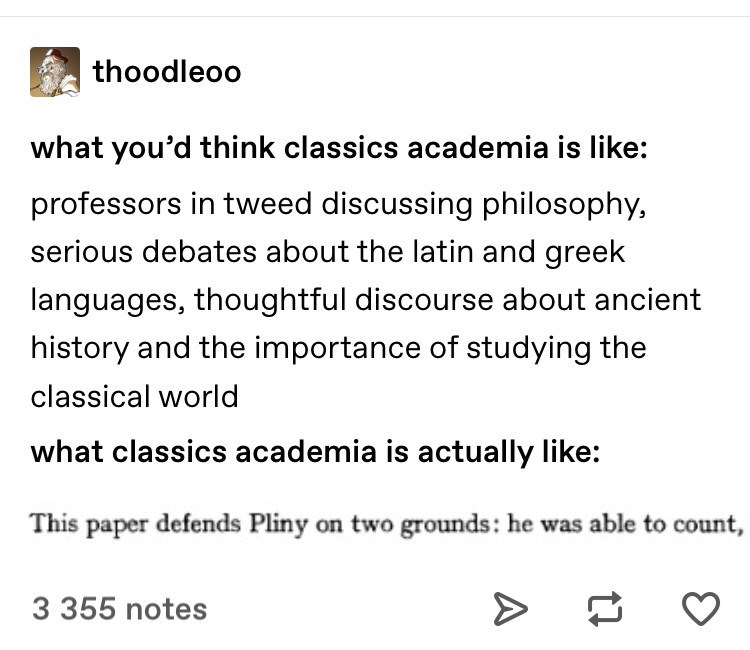 Text - thoodleoo what you'd think classics academia is like: professors in tweed discussing philosophy, serious debates about the latin and greek languages, thoughtful discourse about ancient history and the importance of studying the classical world what classics academia is actually like: This paper defends Pliny on two grounds: he was able to count, 3 355 notes