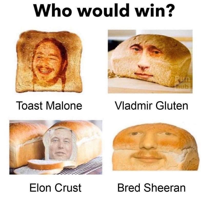 Face - Who would win? Pun hub Vladmir Gluten Toast Malone @PunHubOnline Bred Sheeran Elon Crust