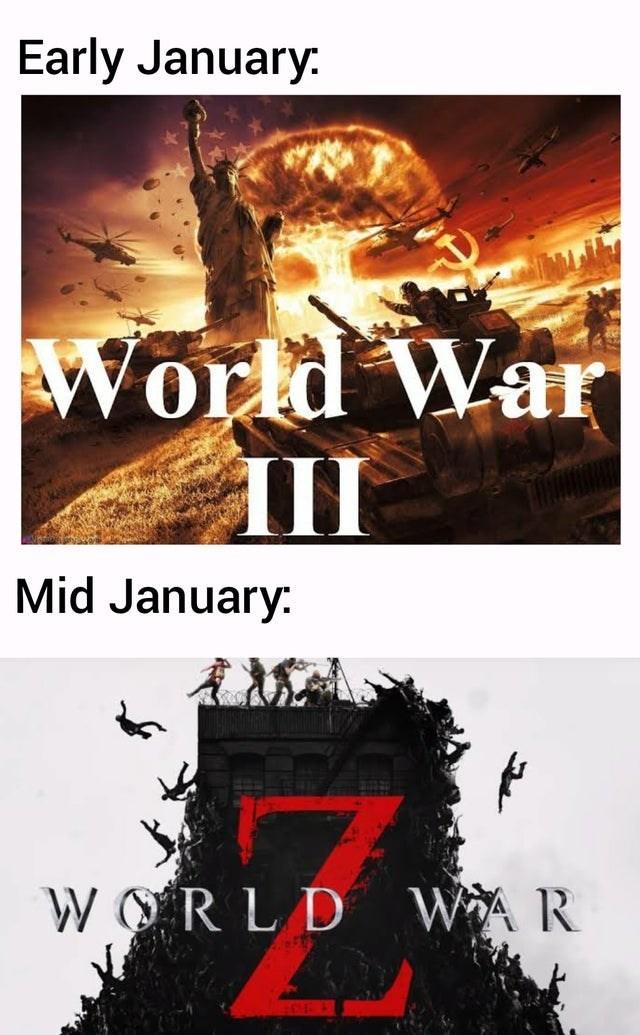 Font - Early January. World War II Mid January: WORLD WAR