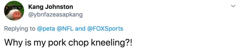 Text - Kang Johnston @ybnfazeasapkang Replying to @peta @NFL and @FOXSports Why is my pork chop kneeling?!