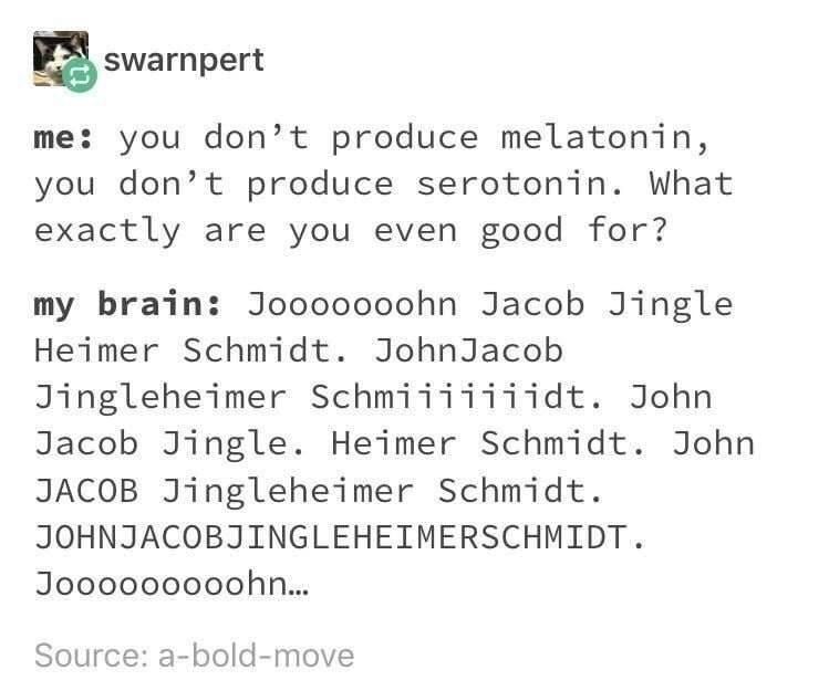Text - swarnpert me: you don't produce melatonin, you don't produce serotonin. What exactly are you even good for? my brain: Jooooooohn Jacob Jingle Heimer Schmidt. JohnJacob Jingleheimer Schmiiiiiiidt. John Jacob Jingle. Heimer Schmidt. John JACOB Jingleheimer Schmidt. JOHNJACOBJINGLEHEIMERSCHMIDT. Jooooooo0ohn... Source: a-bold-move