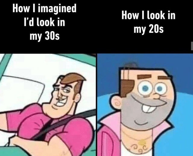 Funny meme using fairly oddparents characters to sum up reality/expectation of aging | how i imagined i'd look in my 30s how i look in my 20s