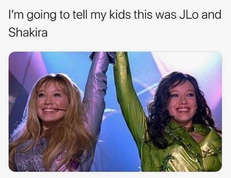 Facial expression - I'm going to tell my kids this was JLo and Shakira