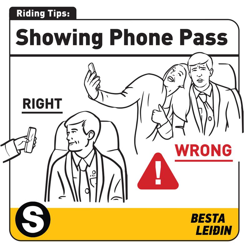 Text - Riding Tips: Showing Phone Pass RIGHT WRONG BESTA LEIÐIN
