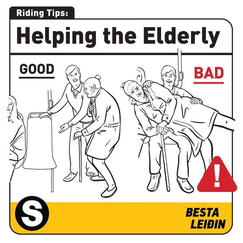 Cartoon - Riding Tips: Helping the Elderly GOOD BAD BESTA LEIÐIN %S4