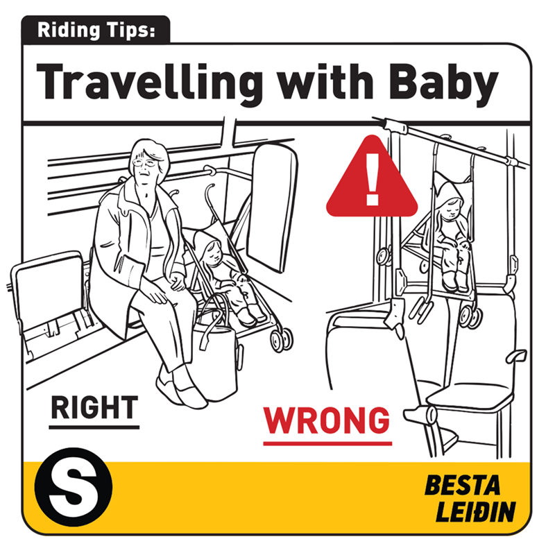 Cartoon - Riding Tips: Travelling with Baby RIGHT WRONG BESTA LEIÐIN