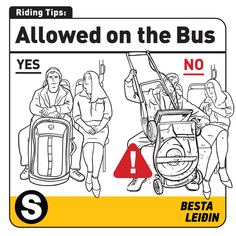 Cartoon - Riding Tips: Allowed on the Bus NO YES BESTA LEIÐIN