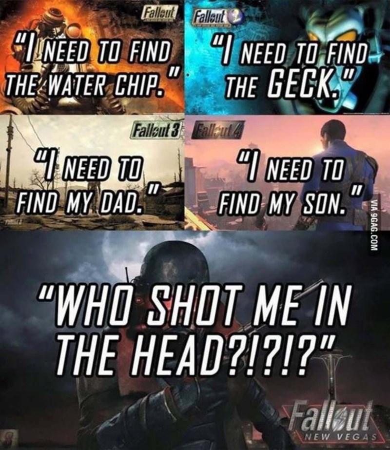 """Action-adventure game - Falleut Falleut """"INEED TO FIND """"I NEED TO FIND THE WATER CHIP. THE GECK."""" Fallkut 3 Fallut& """"I NEED TO FIND MY DAD."""" """"I NEED TO FIND MY SON. """"WHO SHOT ME IN THE HEAD?!?!?"""" Fallaut NEW VEGAS VIA 9GAG.COM"""