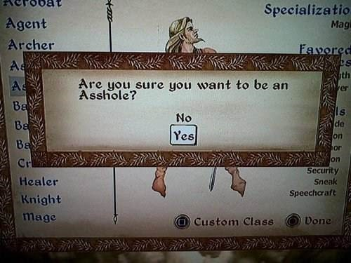 Text - Specializatio Magi Agent Archer Favored ts Ae th Are you sure you want to be an Asshole? As ver Ba ls No Ba de Yes on Ba or Cr on Security Sneak Speecharaft Healer Knight mage OCustom Class Done