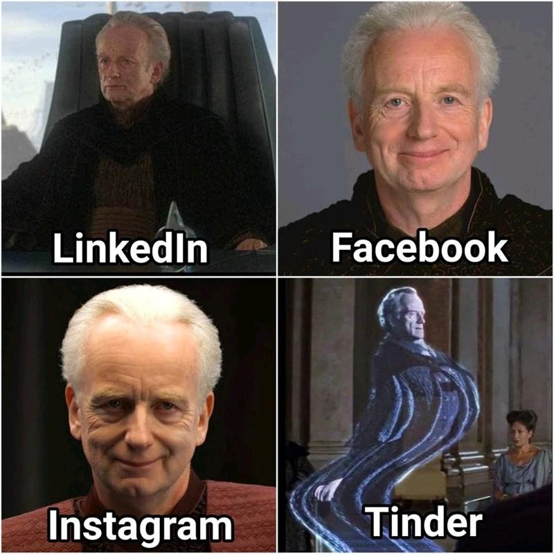 Head - Facebook Linkedin Tinder Instagram
