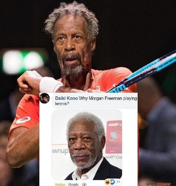 Forehead - Daiki Kono Why Morgan Freeman playing lennis? AARP wnup! MARP Cre SPorts Memes Haha - Reply 5h