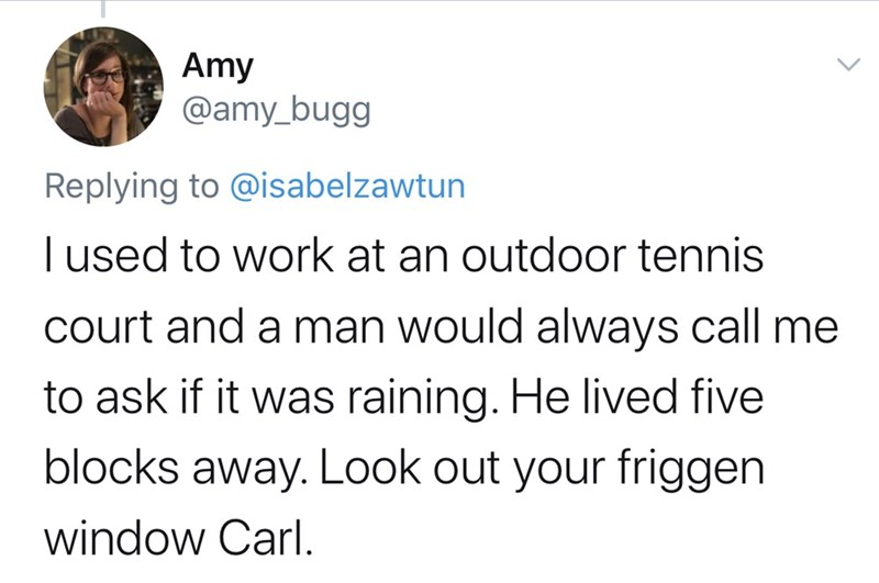 Text - Amy @amy_bugg Replying to @isabelzawtun I used to work at an outdoor tennis court and a man would always call me to ask if it was raining. He lived five blocks away. Look out your friggen window Carl.