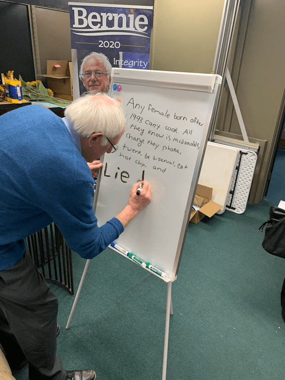 Bernie Sanders Writing On A Whiteboard Gets Meme D With Hot Takes Memebase Funny Memes Bernie sanders has begun focusing more on personal interactions with voters — a new, more emotive approach for the candidate. bernie sanders writing on a whiteboard