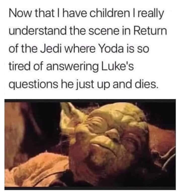 "Funny meme that reads, ""Now that I have children I really understand the scene in Return of the Jedi where Yoda is so tired of answering Luke's questions he just up and dies"" above a still of Yoda"