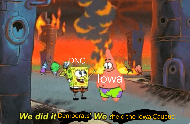 Cartoon - DNC lowa We did it Democrats We cheld the lowa Caucus! LEGO
