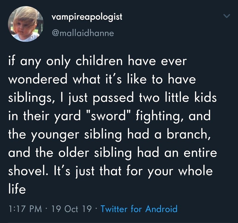 "Text - vampireapologist @mallaidhanne any only children have ever wondered what it's like to have siblings, I just passed two little kids in their yard ""sword"" fighting, and the younger sibling had a branch, and the older sibling had an entire shovel. It's just that for your whole if life 1:17 PM · 19 Oct 19 · Twitter for Android"