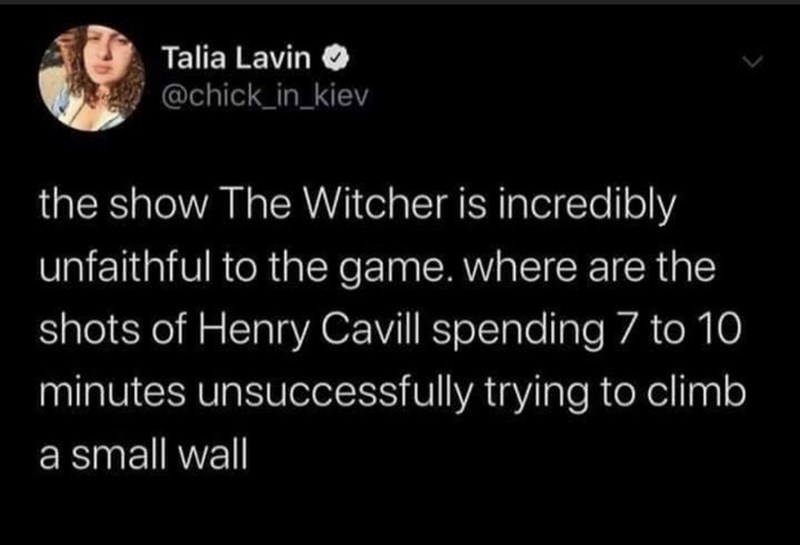 Text - Talia Lavin O @chick_in_kiev the show The Witcher is incredibly unfaithful to the game. where are the shots of Henry Cavill spending 7 to 10 minutes unsuccessfully trying to climb a small wall