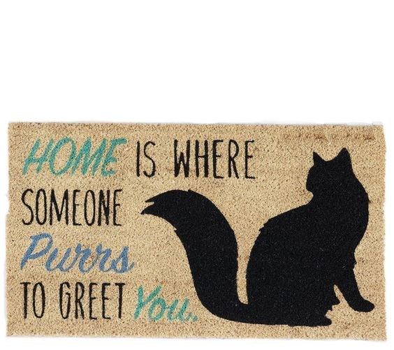 Black cat - HOME IS WHERE SOMEONE Purrs TO GREET You
