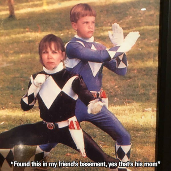 """Photo caption - """"Found this in my friend's basement, yes that's his mom"""""""