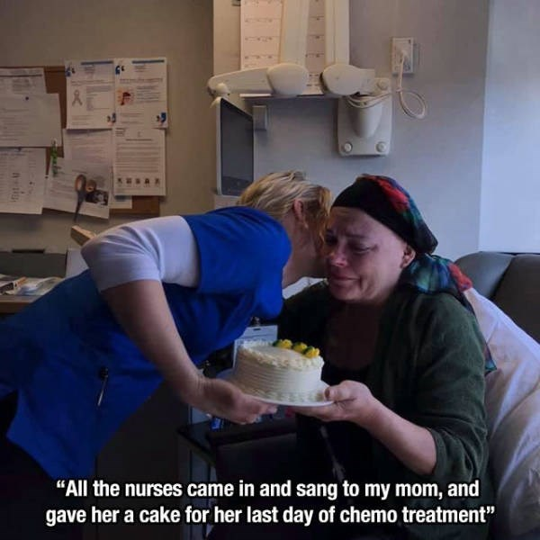 "Arm - 46T ""All the nurses came in and sang to my mom, and gave her a cake for her last day of chemo treatment"""