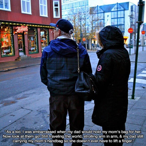 """People - """"As a kid, I was embarrassed when my dad would hold my mom's bag for her. Now look at them go! Still traveling the world, strolling arm in arm, & my dad still carrying my mom's handbag so she doesn't ever have to lift a finger."""""""