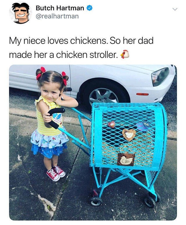 Product - Butch Hartman @realhartman My niece loves chickens. So her dad made her a chicken stroller. O