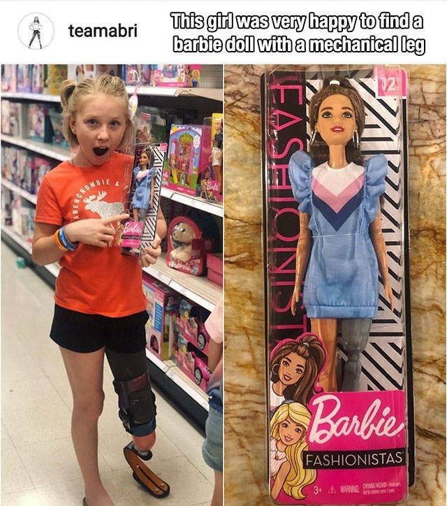 Clothing - This girl was very happy to find a barbie doll with a mechanical leg teamabri 12 CROMBIE Barbie FASHIONISTAS 3+ A MARNG DOGNOD n EASE