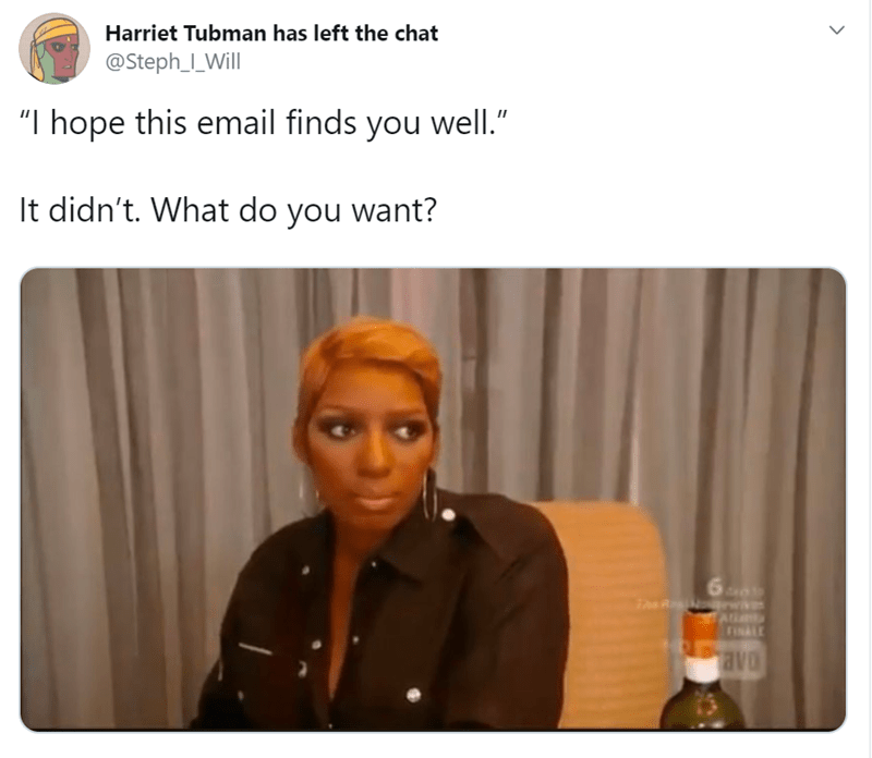 """Hair - Harriet Tubman has left the chat @Steph_I_Will """"I hope this email finds you well."""" It didn't. What do you want? FINALE avo"""