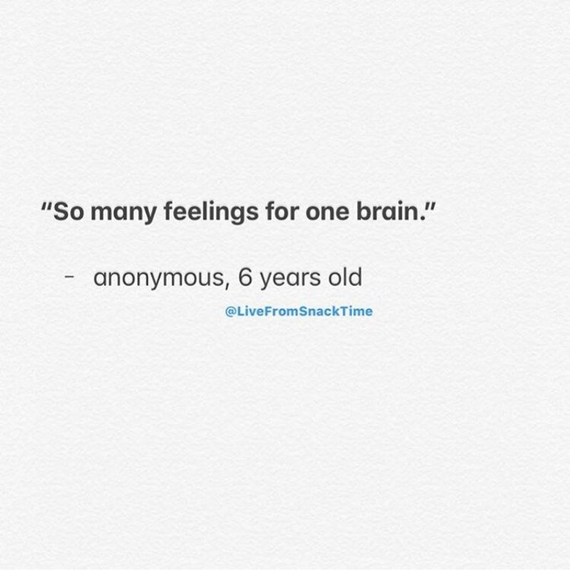 """Text - """"So many feelings for one brain."""" anonymous, 6 years old @LiveFromSnackTime"""