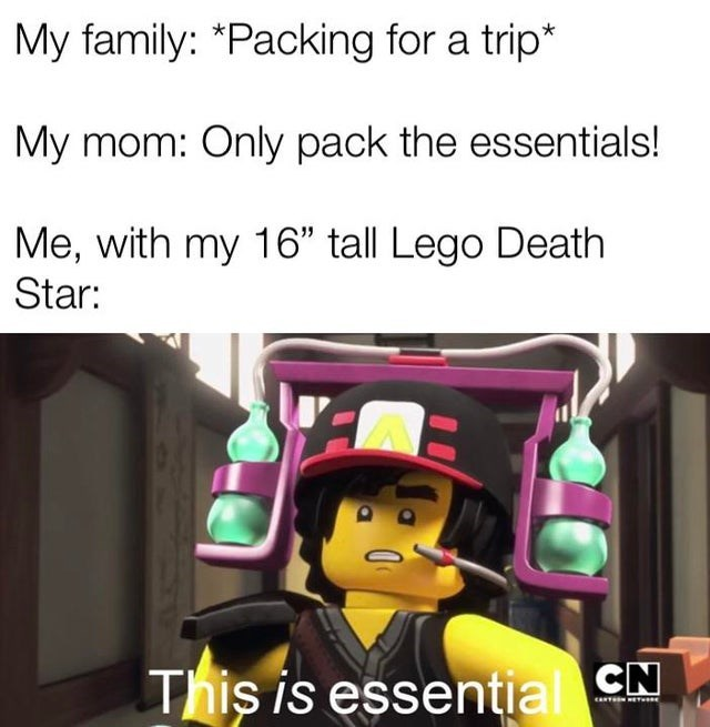 """Cartoon - My family: *Packing for a trip* My mom: Only pack the essentials! Me, with my 16"""" tall Lego Death Star: This is essential CN ANTAON ET"""