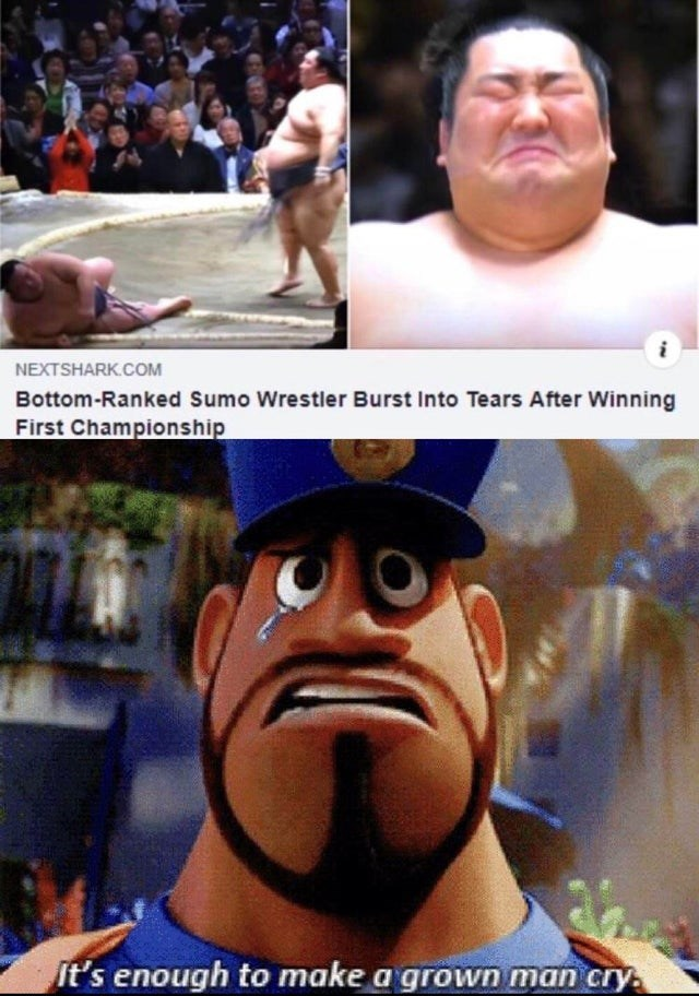 Photo caption - NEXTSHARK.COM Bottom-Ranked Sumo Wrestler Burst Into Tears After Winning First Championship It's enough to make a grown man cry.