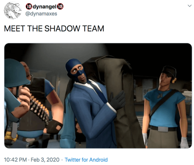Personal protective equipment - 3 dynangel 8 @dynamaxes MEET THE SHADOW TEAM 10:42 PM · Feb 3, 2020 · Twitter for Android