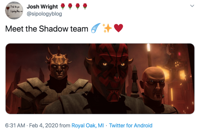 Fictional character - Josh Wright @sipologyblog Trt Ki Meet the Shadow team 6:31 AM - Feb 4, 2020 from Royal Oak, MI · Twitter for Android