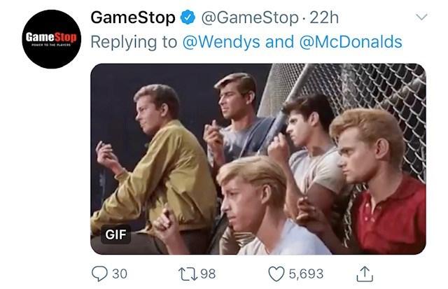 People - @GameStop 22h Replying to @Wendys and @McDonalds GameStop GIF 2798 30 5,693