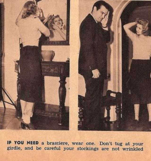 Photograph - IF YOU NEED a brassiere, wear one. Don't tug at your girdle, and be careful your stockings are not wrinkled
