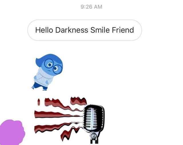 Cartoon - 9:26 AM Hello Darkness Smile Friend