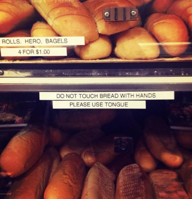 Natural foods - ROLLS, HERO, BAGELS 4 FOR $1.00 DO NOT TOUCH BREAD WITH HANDS PLEASE USE TONGUE