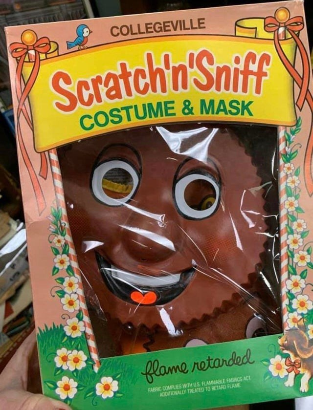 Snack - COLLEGEVILLE Scratch'n'Sniff COSTUME &MASK flame retarded FABRIC COMPLIES WITH US FLAMMABLE FABRICS ACT ADDITIONALLY TREATED TO RETARD FLAME
