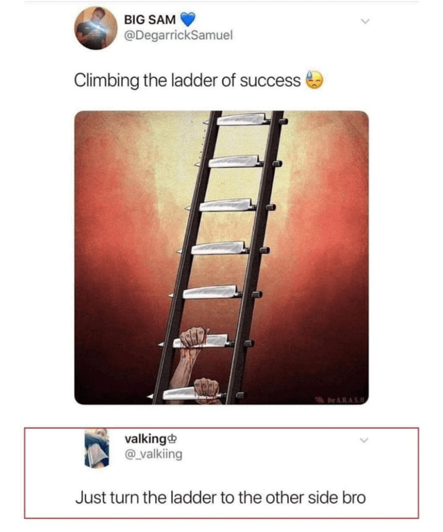 Text - BIG SAM @DegarrickSamuel Climbing the ladder of success by A.RAS.H valking @_valkiing Just turn the ladder to the other side bro