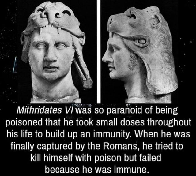 Facial expression - Mithridates VI was so paranoid of being poisoned that he took small doses throughout his life to build up an immunity. When he was finally captured by the Romans, he tried to kill himself with poison but failed because he was immune.