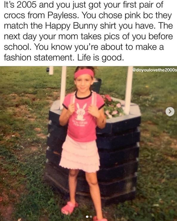 Adaptation - It's 2005 and you just got your first pair of crocs from Payless. You chose pink bc they match the Happy Bunny shirt you have. The next day your mom takes pics of you before school. You know you're about to make a fashion statement. Life is good. @doyoulovethe2000s