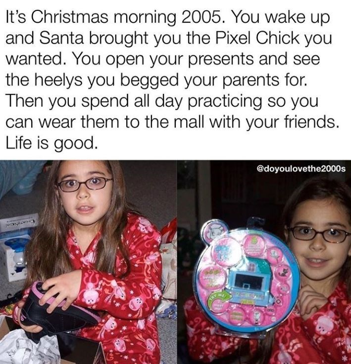 Product - It's Christmas morning 2005. You wake up and Santa brought you the Pixel Chick you wanted. You open your presents and see the heelys you begged your parents for. Then you spend all day practicing so you can wear them to the mall with your friends. Life is good. @doyoulovethe2000s SHATINOW