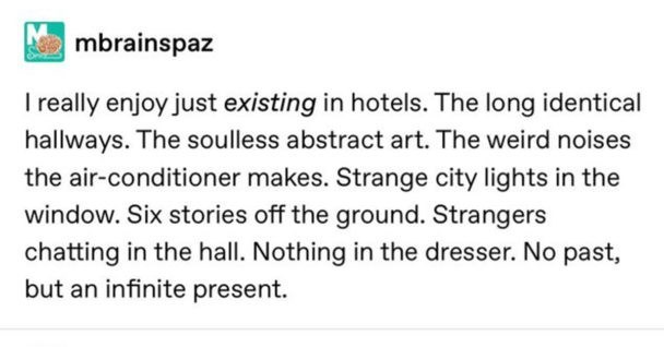 Text - mbrainspaz I really enjoy just existing in hotels. The long identical hallways. The soulless abstract art. The weird noises the air-conditioner makes. Strange city lights in the window. Six stories off the ground. Strangers chatting in the hall. Nothing in the dresser. No past, but an infinite present.