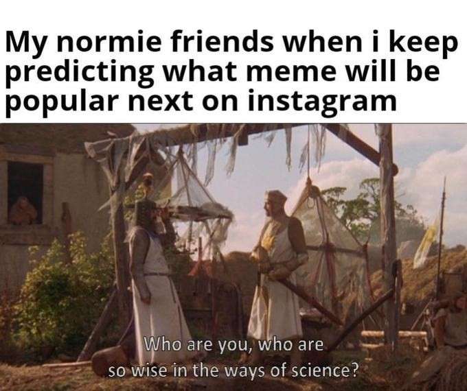 Text - My normie friends when i keep predicting what meme will be popular next on instagram Who are you, who are so wise in the ways of science?