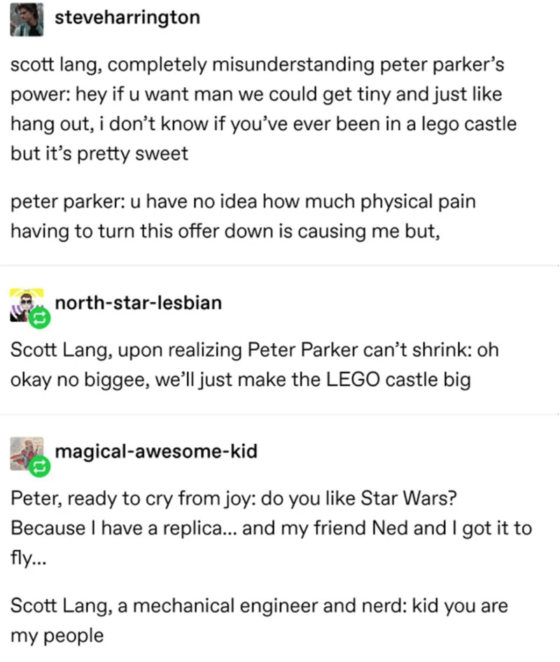 Text - steveharrington scott lang, completely misunderstanding peter parker's power: hey if u want man we could get tiny and just like hang out, i don't know if you've ever been in a lego castle but it's pretty sweet peter parker: u have no idea how much physical pain having to turn this offer down is causing me but, north-star-lesbian Scott Lang, upon realizing Peter Parker can't shrink: oh okay no biggee, we'll just make the LEGO castle big magical-awesome-kid Peter, ready to cry from joy: do