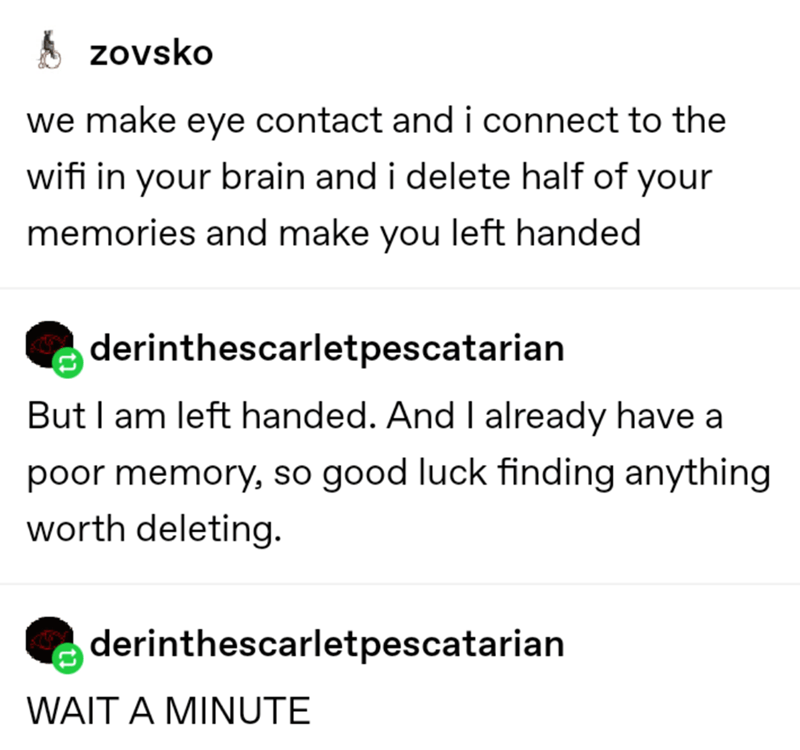 Text - S zovsko we make eye contact and i connect to the wifi in your brain and i delete half of your memories and make you left handed derinthescarletpescatarian But I am left handed. And I already have a poor memory, so good luck finding anything worth deleting. derinthescarletpescatarian WAIT A MINUTE